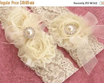 SUMMER SALE Wedding Garter Set Toss Garter included  Ivory with Rhinestones and Pearls  Custom Wedding colors