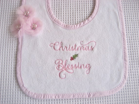 Pink Christmas Baby Gift Set Baby Diaper Cover and Bib Set Bloomers and Bib Set Christmas  Bib Set