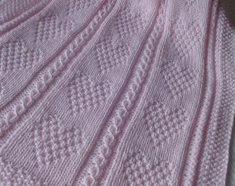 Baby Blanket #12 pink, Baby Crib Blanket, Pink Baby Afghan, Hand Knit Baby Crib Blanket, Handmade Baby Blanket, Hand Knit Baby Blanket