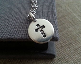 Silver Cross Necklace. Silver Cross Charm. Cross Jewelry. Layering Layered. Round Disc Cross Pendant. Stamped Cross.