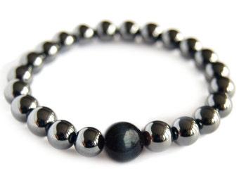 Blue Tiger Eye - CAPRICORN Zodiac Bracelet - Magnetic Hematite Energy Gemstone, Astral Stone, Yoga Stack Mediation Bracelet, Focus Stone