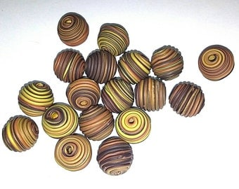 10 Fimo Polymer Clay Fimo Beads Round brown yellow color 14mm