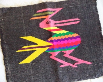 Ethnic bird textile/ vintage woven tribal bird fabric piece/ ethnic fiber art wall hanging/ multi color bird on black bohemian decor