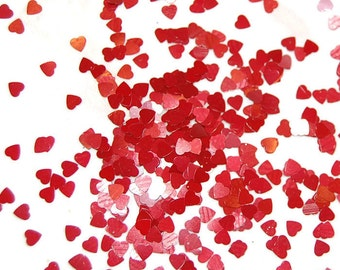 Red Heart Glitter, VALENTINE HEARTS, Solvent Resistant, Glitter, Red Hearts, Red Glitter, Nail Art, Glitter Nail Polish, Glitter Crafts, Red