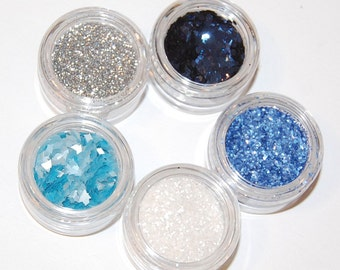 Nail Glitters, Blue, Silver and White Solvent Resistant Set of Five Gorgeous Metallic Glitters for Nail Polish, Nail Art, Glitter Crafts