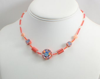 Child's Stretch Necklace - Orange Beaded Children's Necklace - Girls Seed Bead Jewelry - Kid's Accessories