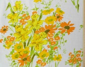 1970s Yellow Daffodils and Orange Daisies  on Vintage Sheet Fat Quarter