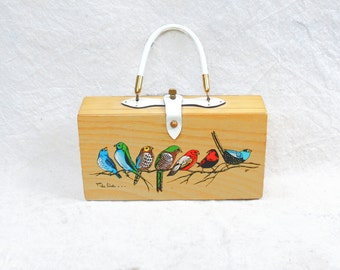 Vintage 1960s Enid Collins hand painted wooden box purse -  60s collectible for the birds white handle purse