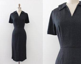vintage 1950s dress // 50s grey fitted wiggle dress