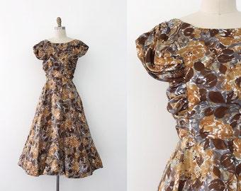 vintage 1950s dress // 50s brown floral silk dress