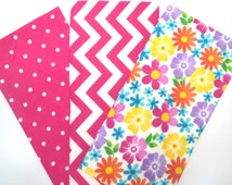 3 Pack of Flannel Fabric Fat Quarters in a Bundle of Bright Flowers, Chevron and Tiny Dot Prints