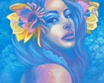 Surreal Portrait in Blue Original Oil Painting