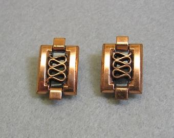 Renoir Copper  Clip On Earrings, 1960s Retro Style