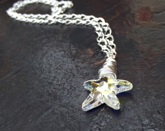 Crystal Starfish Necklace:  Long Silver Chain Necklace, Beach Bridal Jewelry, Ocean Themed Wedding, Nautical Star Necklace