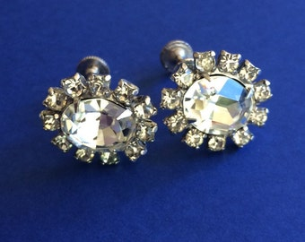 Early Duane Two Tier Clear Rhinestone Screw Back Earrings