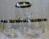 Elegant Roly Poly Cocktail Glasses Silver Rim Glass Set 6