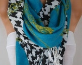 Blue Houndstooth Scarf, Fall Winter Accessories Oversized Shawl Cowl Scarf Bridesmaid Gift Gift Ideas For Her Women Fashion Accessories
