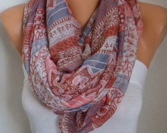 ON SALE --- Pink & Gray Cotton Scarf, Soft Shawl Summer Cowl Oversized Wrap Gift Ideas For Her Women Fashion Accessories Beach Wrap Pareo Wo