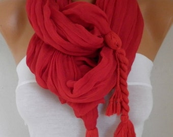 Red Cotton Tassel Scarf, Shawl,Cowl Oversized Wrap Gift Ideas For Her Women Fashion Accessories Mother Day Gift Valentine's Day Gift