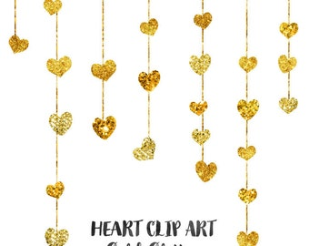 Gold Heart Clipart Set, Wedding Clip Art Digital Download, Commercial Use Wedding Invitation Clipart