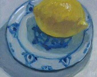 "Lemon Kitchen Still Life Original Oil Painting Modern Impressionist Plein Air California Blue and White 6x6"" Jennifer Boswell"