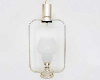 Mid Century Lantern Pendant Lamp with Glass Shade
