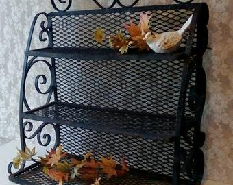 Black Wrought Iron Shelf, Vintage Metal Shelf, Display Shelf, Large Tiered Shelf, Halloween Display shelf