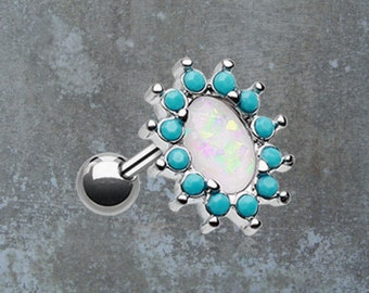 Tragus Earring Cartilage Earring White Opal and Turquoise
