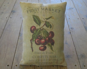 Cherries Burlap Pillow, French Country, Rustic Farmhouse, INSERT INCLUDED