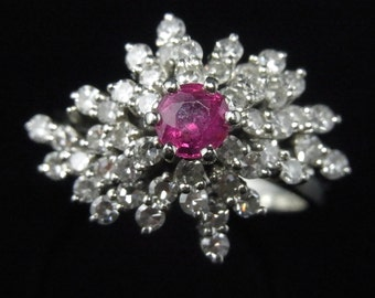 Gorgeous Vintage Ruby Diamonds 18k Gold Cocktail Ring Cluster Estate Mid Century LAYAWAY Available