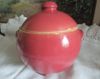 Ransburg Crockery Sugar Bowl   Pink    Footed and Handles