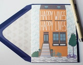 Happy Wives - Valentines Card, Lesbian, LGBT, for her, wife, girlfriend, same sex