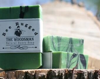 Woodsman Bar Soap, Mens Natural Bar Soap, Cold Process Honey Soap, Lumberjack Soap, Homemade Soap, Gift for Dad, Fathers Day Gift, Mens gift