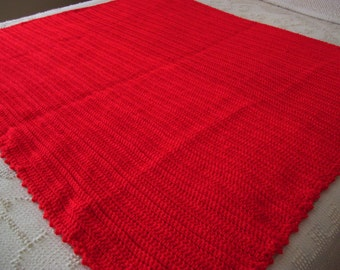Hand Crocheted Afghan, Bright Red,41 46 inches