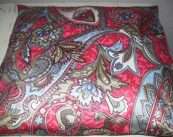 Throw Pillow Cover - Rose and Aqua Paisley Print