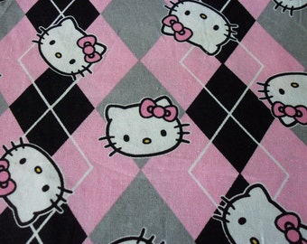 Hello Kitty Fabric Argyle New By The Fat Quarter BTFQ