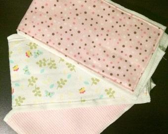 Set of 3 Soft Flannel Burp Cloths