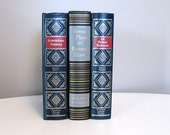 Vintage Decorative Set of Blue Hardcover Books, Twentieth Century Classics, Gold Gilt