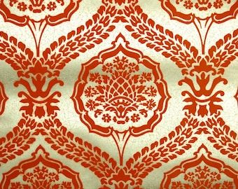 Retro Flock Wallpaper by the Yard 70s Vintage Flock Wallpaper - 1970s Dark Orange Flock Damask on Gold