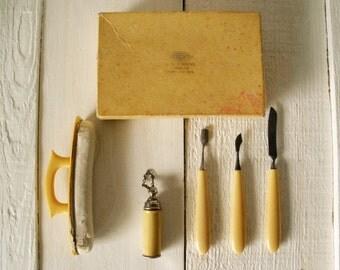 Vintage Bakelite manicure set ivory handles Made in Germany 1930s