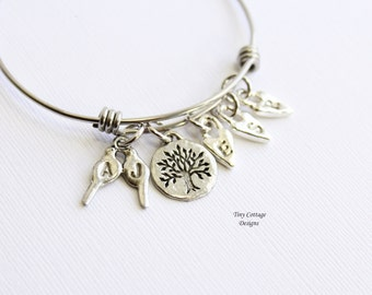 Personalized Love Bird Family Tree Bangle Bracelet... Choose How Many Initial Hearts