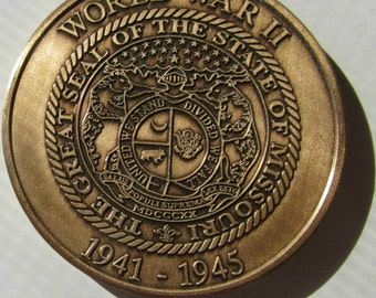 Vintage United States Forces WW2 WWII The Sate of Missouri Commemorative coin / token 1941 - 1945 Mo