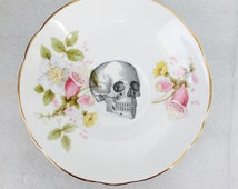 Skull plate  pale pink flowers Foxgloves Saucer For Wall Display Plate Collage English Fine Bone China Royal Stuart china Made in England