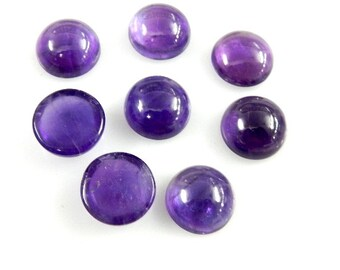 Amethyst Cabochon Gemstone  15MM Round Cabochon 8 Pc Super Top AAA High Quality  100% Natural Deep Purple Best Wholesale Price