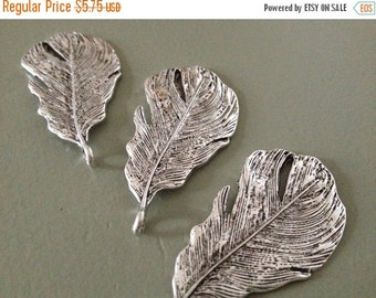 ON SALE 6 x Antique Silver Feathers Silver Large Natural Feather Pendants
