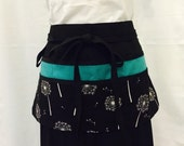 Utility Apron/Half Apron with 8 pockets and loop in black with white flowers and teal green accent fabric
