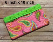 Travel Quilted Zippered Bag, Pink/Lime Paisley, Cosmetic/Make Up Bag, Cell Phone Wallet, Eyeglass Case, Toiletry Bag, Luggage, Jewelry Bag