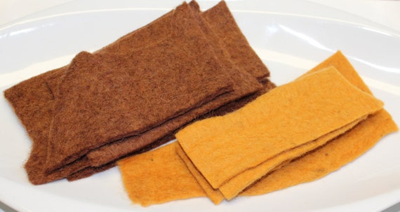 Thick Handmade 100% Pure Wool Felt REMNANTS Brown and Warm Spice Artisan Made Pure Wool From Nepal Hand Dyed Wool Felt