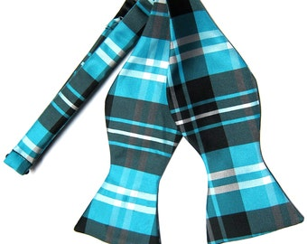 Men's Plaid Black Turquoise White Self-Tie Bowtie, for Formal Occasions