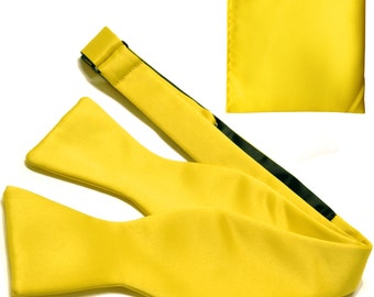 Men's Solid Yellow Self-Tie Bowtie and Handkerchief, for Formal Occasions